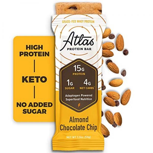 Atlas Bar - Keto Protein Bars, Almond Chocolate Chip - High Prot...