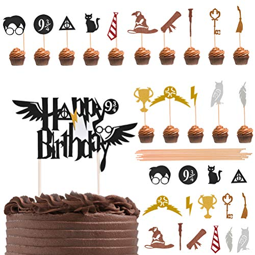 ATPWONZ 31 Pieces Harry Potter Inspired Cupcake Toppers Wizard B...
