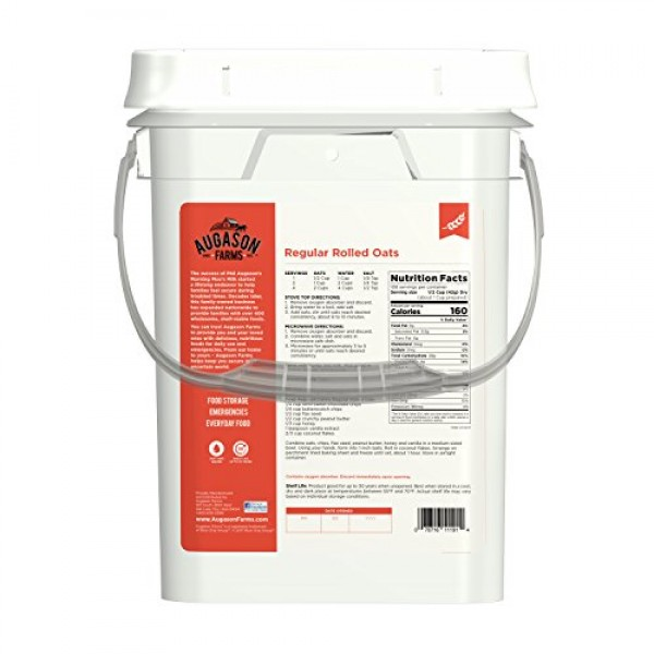 Augason Farms Regular Rolled Oats Emergency Food Storage 10 Poun...
