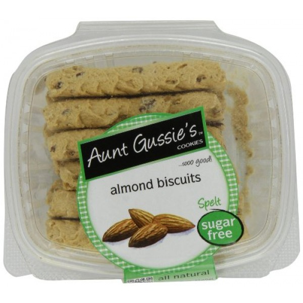 Aunt Gussies Sugar Free Almond Biscuits, 8-Ounce Tubs Pack of 4