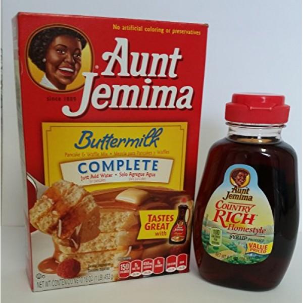 Aunt Jemima Complete Buttermilk 16 oz Pancake Mix with Aunt Jemi...
