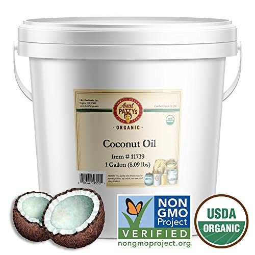Aunt Pattys Organic Coconut Oil, Refined, 128 Ounce