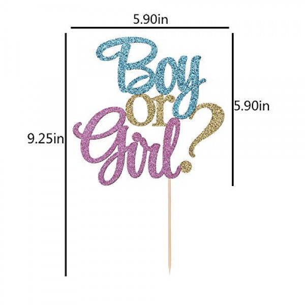 Auteby Boy or Girl Cake Topper - Blue and Pink Glitter Baby Show...