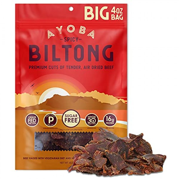 Ayoba Spicy Biltong - Grass Fed, Keto and Paleo Certified Air-Dr...