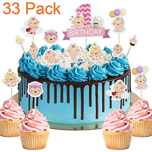 33 Pack Little Baby Its a Girl Pink Cupcake Toppers For Baby Sh...