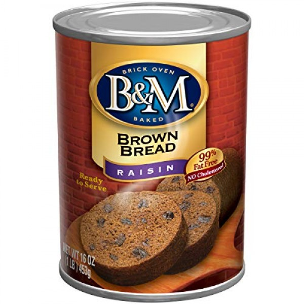 B & M Brown Bread, Raisin Bread, 16 Ounce Pack of 12