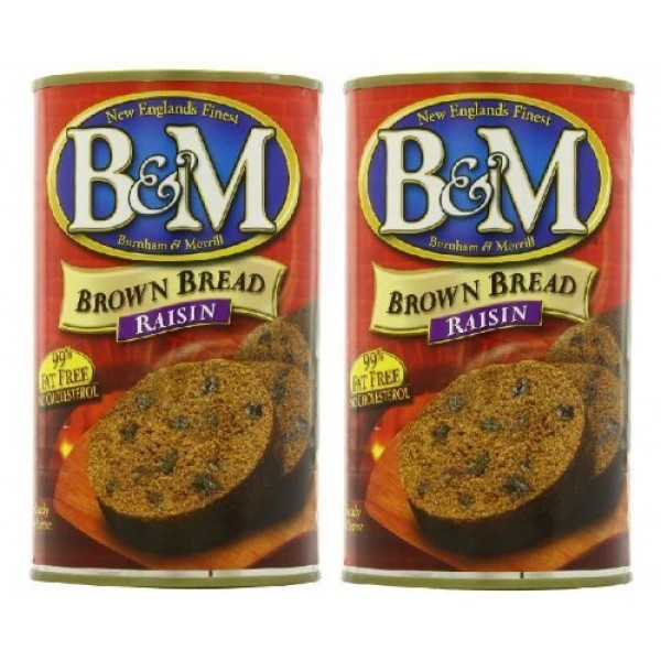 B&M Original Brown Bread in Can: Raisin 16 oz Cans 2 Pack by B&M