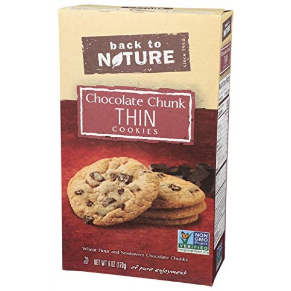 Back to Nature Cookies, Non-GMO Chocolate Chunk Thins, 6 Ounce ...