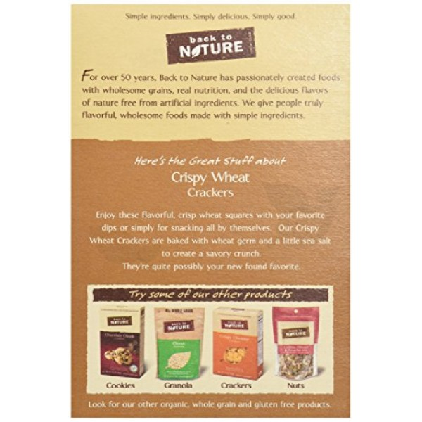 Back to Nature Crackers, Non-GMO Crispy Wheat, 8 Ounce Packagin...