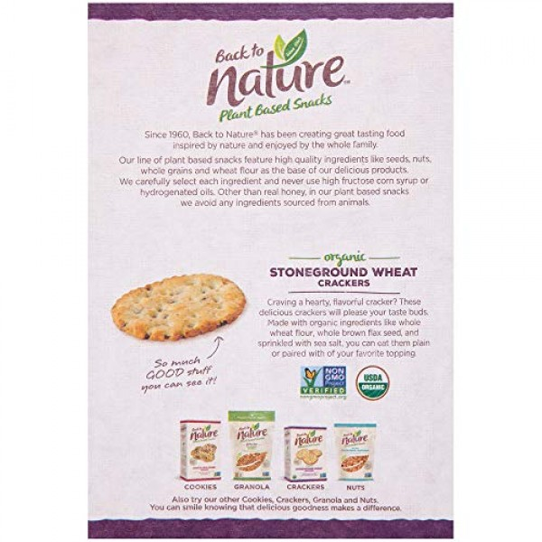 Back to Nature Crackers, Organic Stoneground Wheat, 6 Ounce Pac...