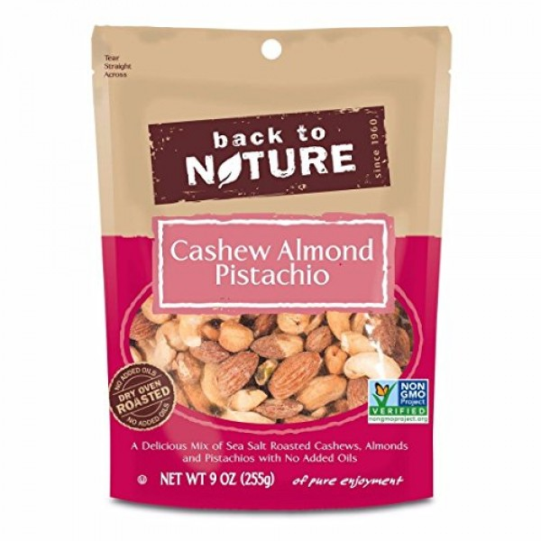 Back To Nature Trail MIx, Cashew Almond & Pistachio, 9 Ounce Pa...