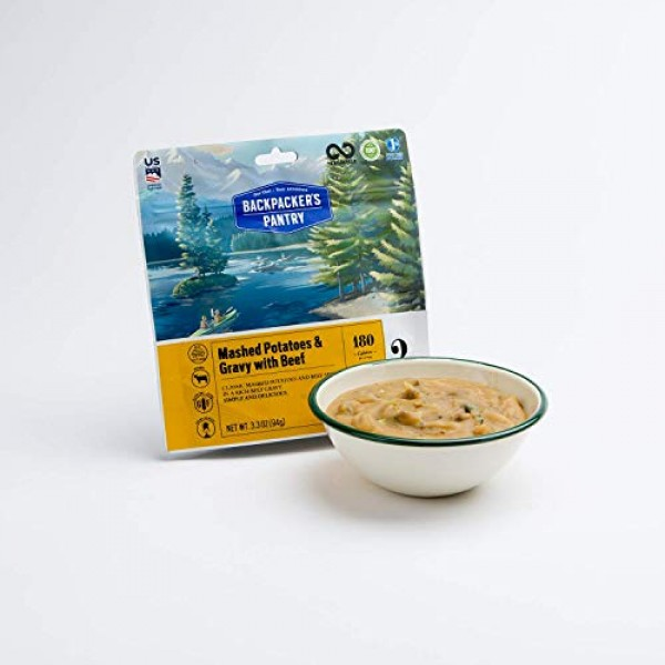Backpackers Pantry Mashed Potatoes with Gravy & Beef, 2 Serving...