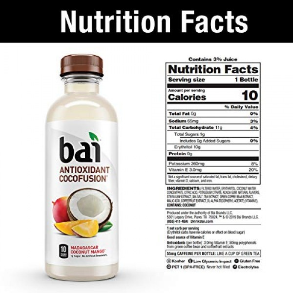 Bai Coconut Flavored Water, Cocofusions Variety Pack, 18 Fluid O...