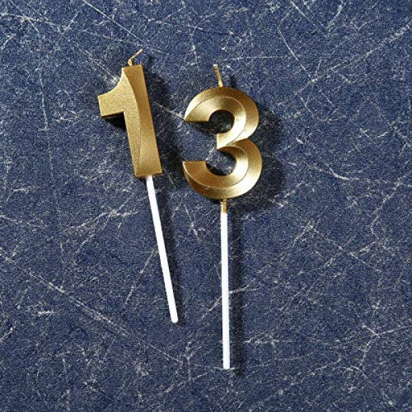 13th Birthday Candles,Gold Number 13 Cake Topper for Birthday De...