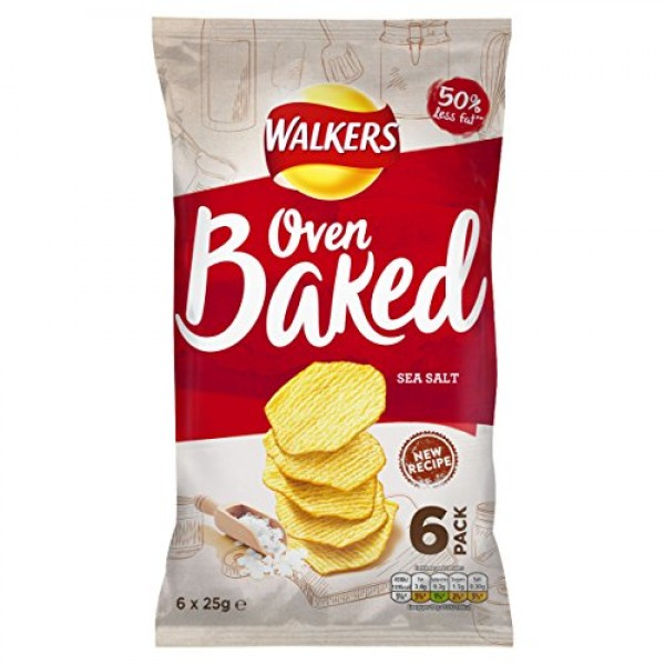 Baked Walkers Ready Salted Crisps 6 X 25G by Baked