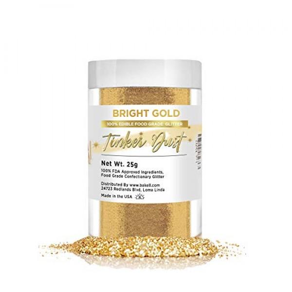 BAKELL Bright Gold Edible Glitter, 25 Grams   TINKER DUST Edible...