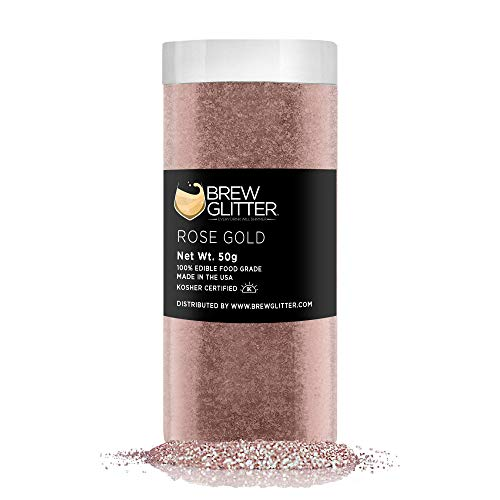 BREW GLITTER Rose Gold Edible Glitter For Drinks, Cocktails, Bee...