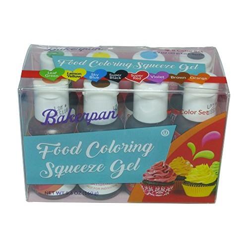 Bakerpan Food Coloring Squeeze Gel .7 oz Bottles, For Icing, Cak...
