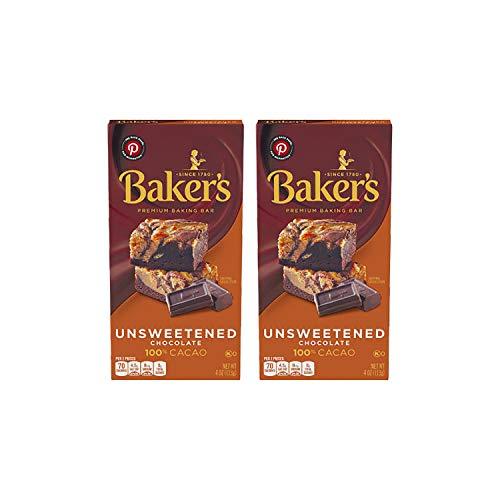 Bakers Unsweetened Baking Chocolate Bar, 4 Oz Pack of 2 KOSHE...