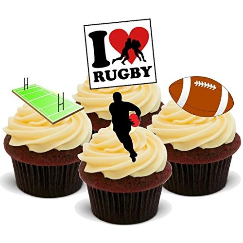 I Love Rugby Mix B - Fun Novelty Birthday PREMIUM STAND UP Edibl...