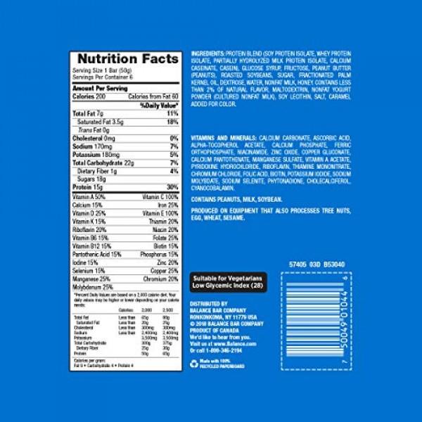 Balance Bar, Healthy Protein Snacks, Yogurt Honey Peanut, With V...