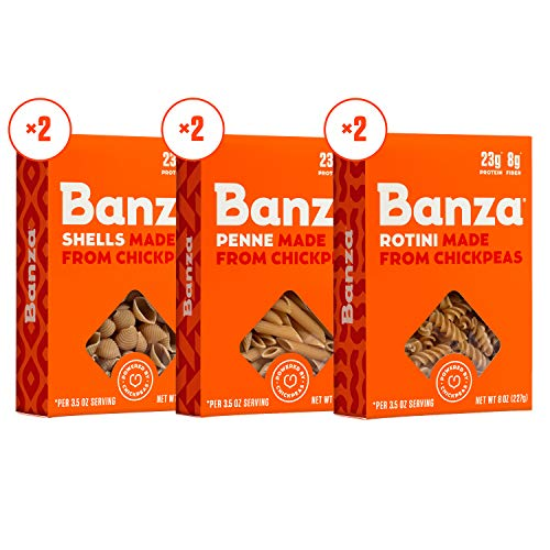 Banza Chickpea Pasta, Variety Pack 2 Penne/2 Rotini/2 Shells -...