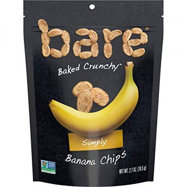 Bare Baked Crunchy Banana Chips, Simply, Gluten Free, 2.7 Ounce,...