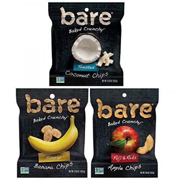 Bare Baked Crunchy Fruit Variety Pack, Apples, Bananas, and Coco...