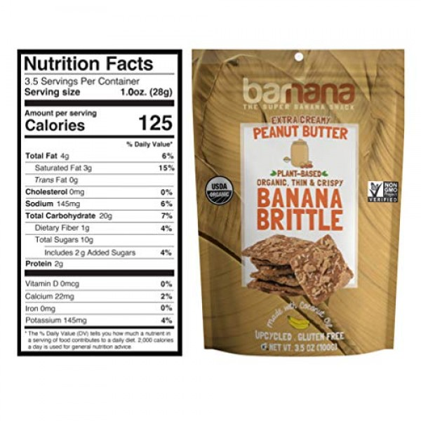 Barnana Organic Crunchy Banana Brittle - Peanut Butter, 3.5 Ounc...