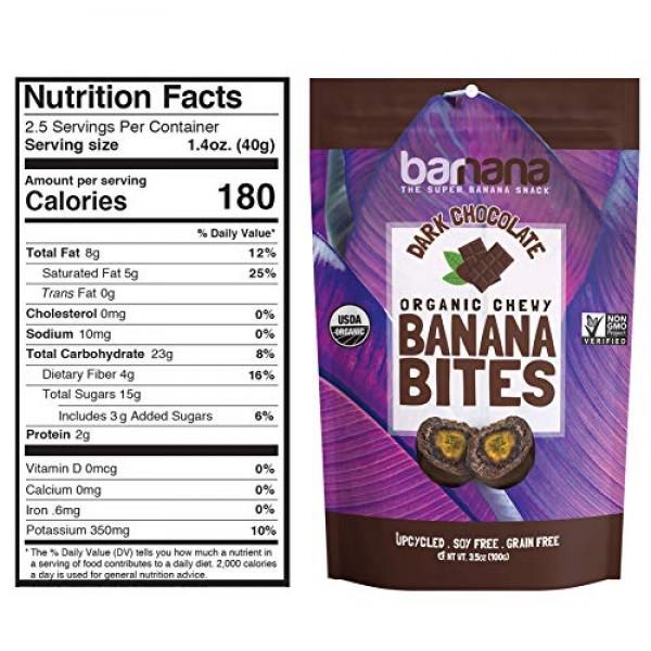 Barnana Organic Dark Chocolate Chewy Banana Bites - 3.5 Ounce, 3...