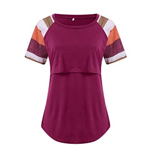 Womens Maternity Layered Nursing Tops Solid Short/Long Sleeve H...