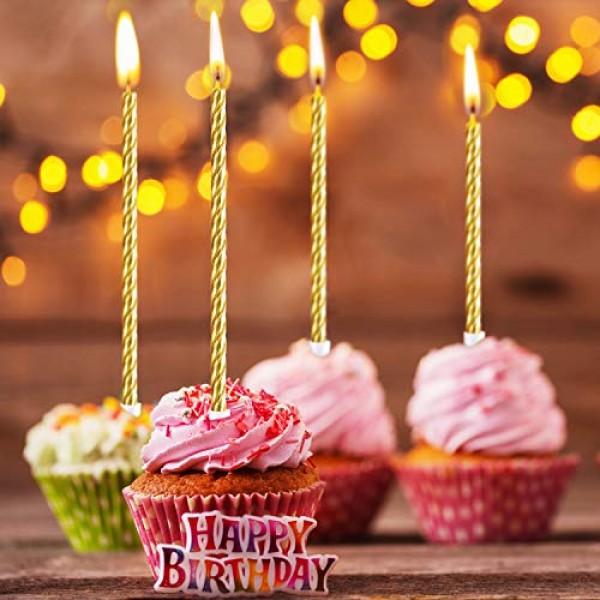 30 Pieces Birthday Candles Spiral Cake Candles Metallic Cupcake ...