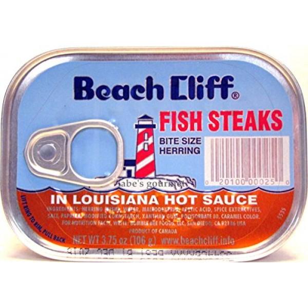Beach Cliff Bite Size Herring Fish Steaks in Louisiana Hot Sauce...