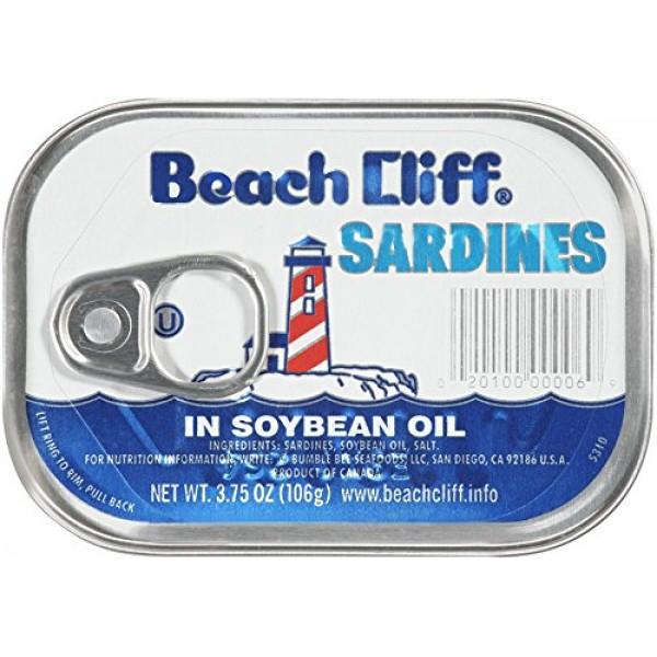 BEACH CLIFF Sardines in Soybean Oil, High Protein Food, Keto Foo...