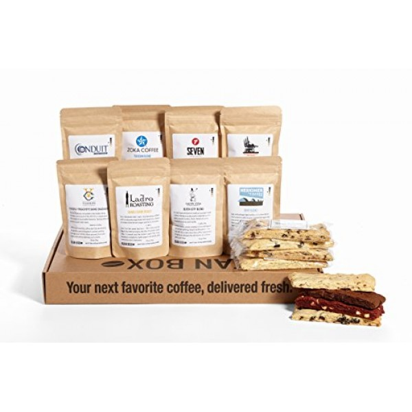 Bean Box Coffee and Biscotti Cookie Gift Boxes Whole Bean, Deluxe
