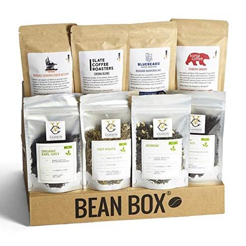 Bean Box - Coffee and Tea Gift Box Whole Bean, 4 Coffees + 4 Teas