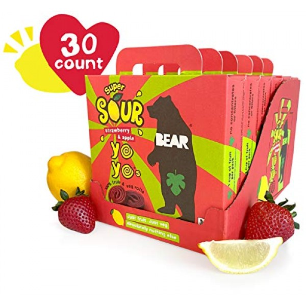 BEAR Sour - Real Fruit Yoyos - Strawberry - 0.7 Ounce 30 Count...