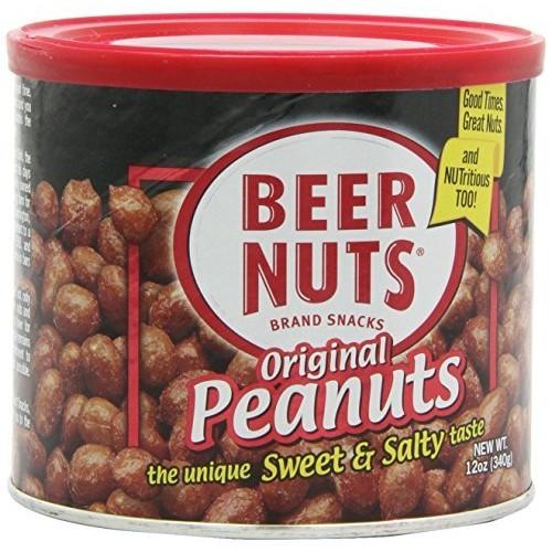 Beer Nuts, Brand Snacks, Original Peanuts, 12oz Can Pack of 3