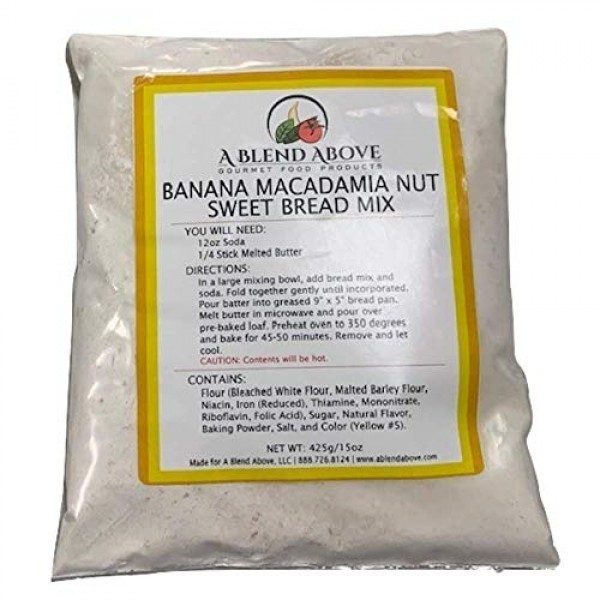 A Blend Above Banana Macadamia Nut Sweet Bread Mix, 15 oz, 3 Pack