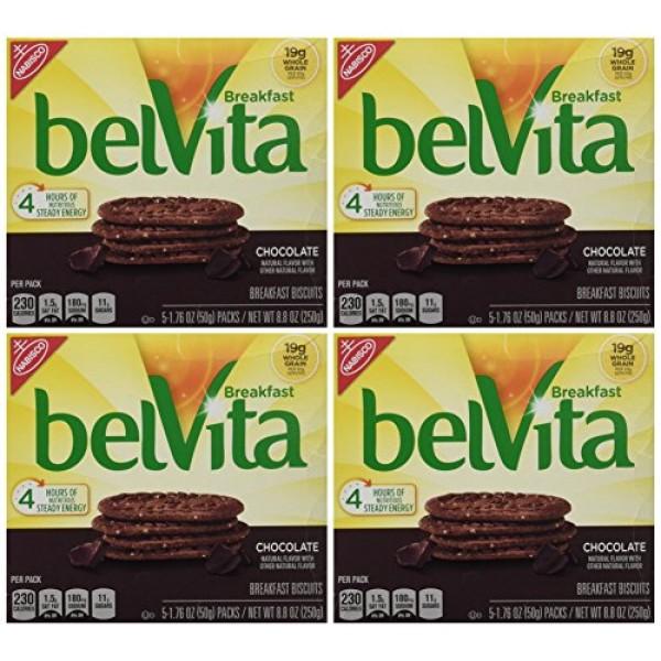 belVita Chocolate Breakfast Biscuits, 8.8 Ounce Pack of 4
