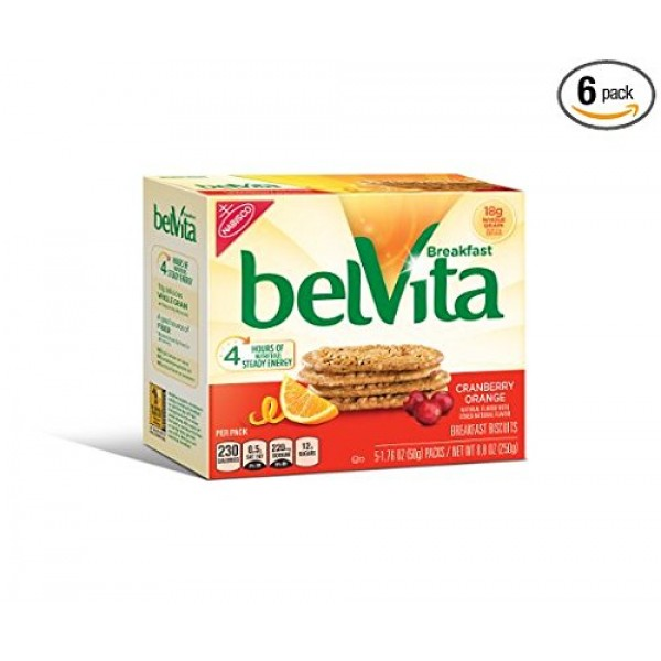 belVita Breakfast Biscuits, Cranberry Orange, 8.8 Ounce Pack of 4