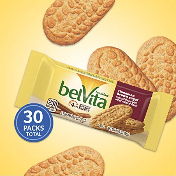 Belvita Cinnamon Brown Sugar Breakfast Biscuits, 6 Boxes of 5 Pa...
