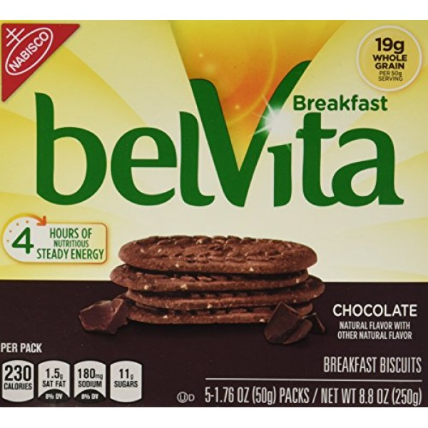 Belvita Whole Grain Chocolate Breakfast Biscuits 2 boxes of 5 s...