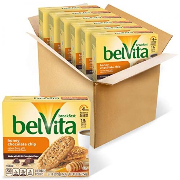 belvita Honey Chocolate Chip Breakfast Biscuits, 6 8.8 oz Pack