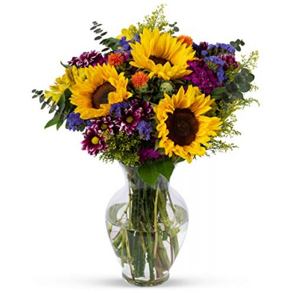 Benchmark Bouquets Flowering Fields, With Vase Fresh Cut Flowers