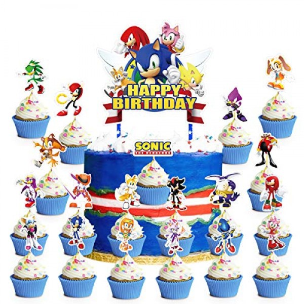 Decorations for Sonic Cake Topper Cupcake Toppers Birthday Party...