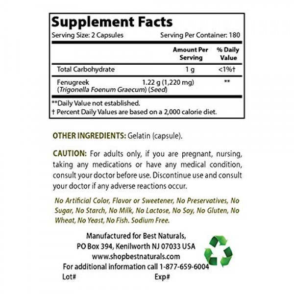 Best Naturals Fenugreek Seed Capsules Non-GMO 610 mg - Promotes ...