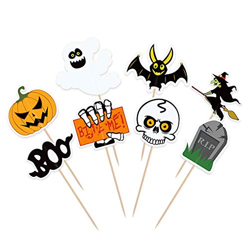 BESTONZON 48 PCS Halloween Cupcake Toppers, Double Sided Cake To...