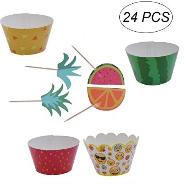 BESTOYARD 24pcs Hawaii Cake Toppers Watermelon Pineapple Cupcake...