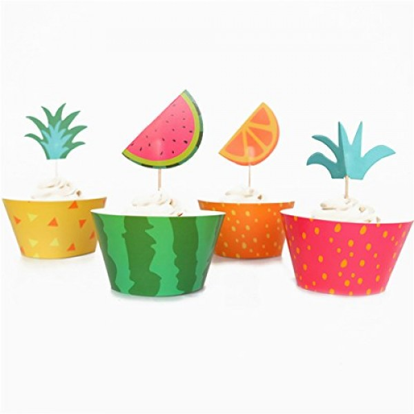 BESTOYARD Hawaii Pineapple Cupcake Toppers Cupcake Topppers with...